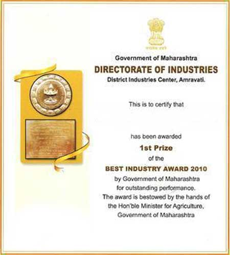 First District Award by Government of Maharashtra Directorate of Industries